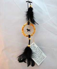 Tiny Black Dream Catcher with a Black Poodle, car dreamcather, 2 inch by OriginalsByCathy on Etsy