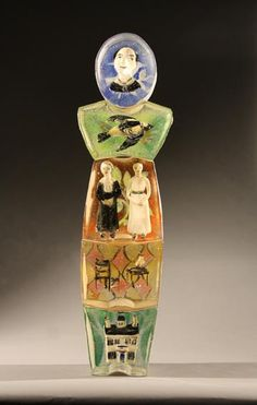 Stephanie Trenchard, EMILY WITH SISTER SUE AND MABEL, Sand Cast Glass with Sculpted and Painted Inclusions, 39 1/2 x 11 x 6""