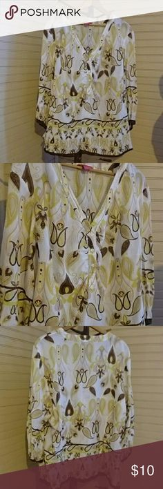 HOST PICK 2/26/2018!!Sunny Leigh cotton/silk blend Colors range from brown to pink to yellow and green.. Flare at sleeves with tie pit to pit 26 length 28 I do not have professional lighting or camera so reflections may appear in photos no stains or rips small slits at bottom sides of blouse Sunny Leigh Tops Blouses