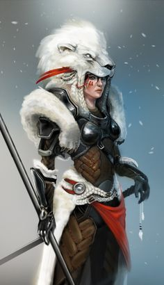 female warrior fighter ranger spear wolf | NOT OUR ART - Please click artwork for source | WRITING INSPIRATION for Dungeons and Dragons DND Pathfinder PFRPG Warhammer 40k Star Wars Shadowrun Call of Cthulhu and other d20 roleplaying fantasy science fiction scifi horror location equipment monster character game design | Create your own RPG Books w/ www.rpgbard.com