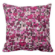 hearts and checks, pink pillow Pink Pillows, Floral Pillows, Custom Pillows, Decorative Throw Pillows, Geometric Decor, Home Goods, Tiles, Cool Designs, Hearts