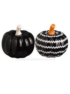 Black Mini Pumpkin Salt and Pepper Shakers