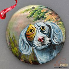 HAND PAINTED DOG NATURAL MOTHER OF PEARL SHELL NECKLACE PENDANT ZL30 06291 #ZL #PENDANT