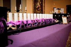 Sweet Sixteen Masquerade Ball: Sixteen Candle Ceremony Display