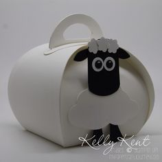Shaun the Sheep curvy keepsake box punch art using Tree Builder Punch. Instructions included. Kelly Kent - mypapercraftjourney.com.