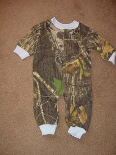 Camouflage Camo Powder Blue Trim  Infant Newborn Baby Long Sleeve Sleeper Creeper Mossy Oak Boy. $20.99, via Etsy.