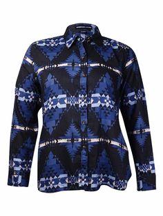 American Living Women's Aztec Print Cotton Buttoned Shirt