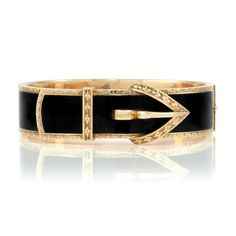 Antique Gold and Black Enamel Buckle Bangle Bracelet The stylized buckle motif applied throughout with black enamel, edged and accented by engraved gold, circa with personal engraving on interior, approximately 29 dwt. Trendy Jewelry, Gems Jewelry, Fine Jewelry, Antique Gold, Antique Jewelry, Vintage Jewelry, Ancient Jewelry, Black Enamel, Anklets