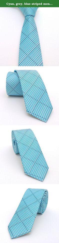 """Cyan, grey, blue striped men's tie 6 cm (2,36"""") DK-442. Cyan, grey, blue striped men's necktie DK-442 Width : 6 cm (2,36"""") Length : 150 cm (59,06"""")."""