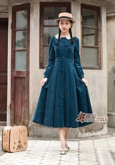 Cheap women dress vintage, Buy Directly from China Autumn Winter Women dress Vintage Retro Peter Pan Collar Elegant Long Sleeve Belt Midi Dresses Tunic Vestidos Lolita Fashion, Modest Fashion, Hijab Fashion, Fashion Dresses, Fashion Fashion, Women's Dresses, Cute Dresses, Cute Outfits, Short Dresses