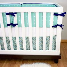 Mint and Navy Crib Bedding Cribset Custom Baby by modifiedtot - maybe with red ribbons and trim and a more fun sheet