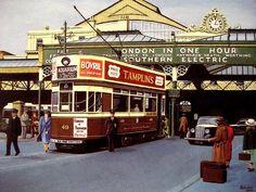 Archive Brighton railway station & tram postcard, Brighton, UK.