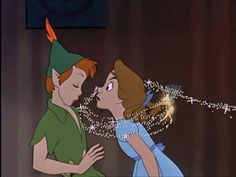 I watched Peter Pan, it was an ok disney movie. I honestly like Peter Pan, so charming. In the books, in Hook, in the Peter Pan movie from Arte Disney, Disney Magic, Disney Art, Disney Pixar, Disney Characters, Disney Kiss, Disney Couples, Disney Face Swaps, Peter Pan Syndrome