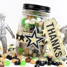 Army Party Favors Ideas - Jelly Bean filled mason jars with tags created with Sizzix dies by Michelle's Party Plan-It. Bakers Twine from PYP #bakerstwine #PYP