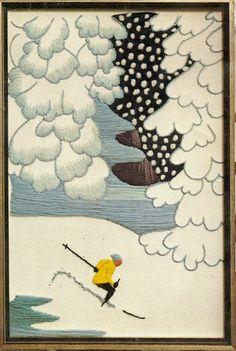 "Vintage 1971 Erica Wilson ""Ski Scene"" Winter Snow Skiing Crewel Kit Snow Pony, Crewel Embroidery Kits, Vintage Ski, Lake George, Snow Skiing, Winter Activities, Winter Snow, Bucket, Scene"