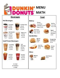 Dunkin Donuts Menu Math by Lifeskills Connections With Mrs NG Low Calorie Fast Food, Food Calorie Chart, Healthy Fast Food Options, Fast Healthy Meals, Healthy Mcdonalds Options, Calorie Counting Chart, Duncan Donuts, Dunkin Donuts Menu, Dunkin Donuts Frozen Coffee Recipe