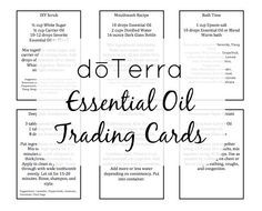 Essential Oil Trading Cards - free printable Word document with 79 trading cards of essential oil recipes and tips