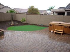 Arizona Backyard Design With Paver Patio, Synthetic Grass Putting Green And  Desert Plants.