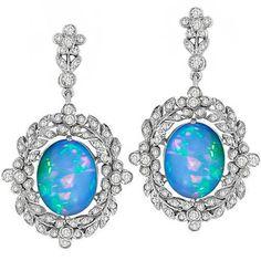 Estate Edwardian Style 4.68ct Cabochon Fiery Blue Opal 1.00ct Round Cut Diamond 18k White Gold Drop Earrings