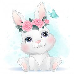 Cute baby rabbit with floral Premium Vec. Watercolor Flower Background, Watercolor Leaves, Watercolor Rose, Baby Animal Drawings, Cute Drawings, Cute Images, Cute Pictures, Illustration Mignonne, Animal Illustrations