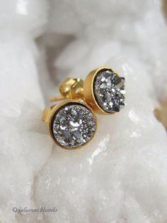 Tiny Silver Druzy Earrings Titanium Drusy Quartz Studs Gold Vermeil Bezel Set