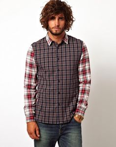ASOS Check Shirt With Cut And Sew