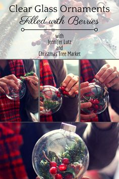 These DIY clear gass ball ornaments filled with berries are so easy to make, adorn your tree with DIY clear glass ornaments filled wtih berries