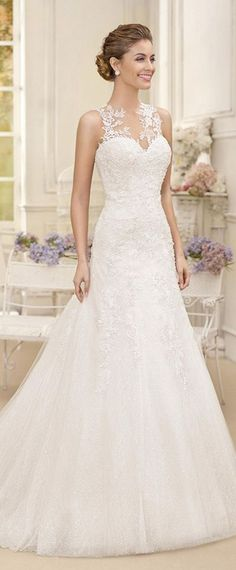 Attractive Tulle & Satin Jewel Neckline A-line Wedding Dresses With Lace Appliques