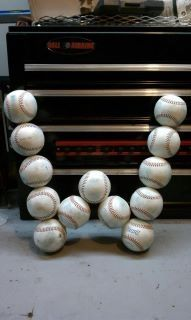 My Husband and I got our craft on and made this as a baby gift for our friend who loves baseball. The babies name is Wyatt