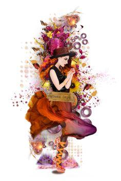 """Pink Autumn"" by poshtrish ❤ liked on Polyvore featuring art, dollset, artset and artexpression"