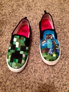 Minecraft shoes! Hand painted Minecraft DIY shoes by Courtney James
