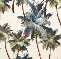Palm trees upholstery fabric. By HawaiianFabricNBYond on Etsy.com