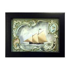 Schooner Ship 3D Shadow Box Wall Art Antique Vintage Style   Etsy Vintage Prints, Vintage Style, Vintage Items, Vintage Fashion, Frames On Wall, Framed Wall Art, Red Owl, Nautical Design, Border Print