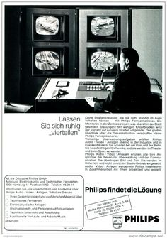 Original-Werbung/ Anzeige 1968 - 1/1 SEITE - PHILIPS FERNSEHKAMERAS - ca. 190 x 250 mm