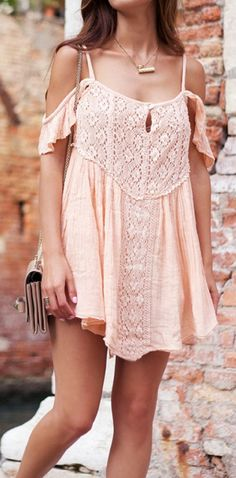 Peach off shoulder dress.