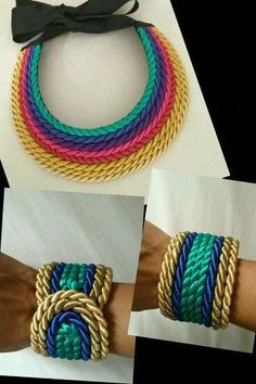 What a cool simple DIY jewelry idea. Probably felt backed? Rope Jewelry, Thread Jewellery, Textile Jewelry, Fabric Jewelry, Diy Jewelry, Beaded Jewelry, Jewelery, Handmade Jewelry, Jewelry Making