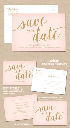 Included In This Wedding Download Package Are Multiple Formats To Make A Save The Date Postcard Single Sided Or Double Sided