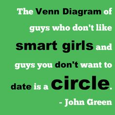 """""""The venn diagram of guys who don't like smart girls and guys you don't want to date is a circle."""" John Green"""