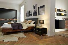 Lit double / contemporain / avec tête de lit en cuir / avec lumière intégrée METIS PLUS hülsta