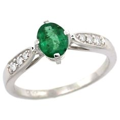 14k White Gold Diamond Natural High Quality Emerald Engagement Ring Oval 7x5mm, size 6.5, Women's