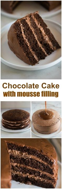 This Chocolate Cake with Chocolate Mousse Filling belongs in a baking contest! It's a simply amazing moist chocolate cake filled with dark chocolate mousse, and a warm chocolate frosting poured on top! via Lauren {Tastes Better From Scratch} Chocolate Desserts, Chocolate Frosting, Chocolate Cake, Chocolate Mousse Cake Filling, Nutella Cake, Baking Recipes, Cake Recipes, Dessert Recipes, Fudge