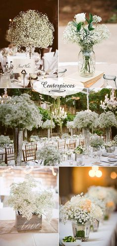 Baby's Breath Wedding Decor Ideas: Classy and Romantic Baby's breath wedding decor. Budget-friendly white and original wedding centerpieces. Budget-friendly white and original wedding centerpieces. Trendy Wedding, Diy Wedding, Rustic Wedding, Dream Wedding, Decor Wedding, Cheap Wedding Flowers, Wedding Cakes, Wedding 2017, Classy Wedding Decorations