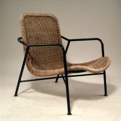 Dirk van Sliedregt; #514 Enameled Metal, Leather and Rattan Easy Chair for Jonkers Bros., 1952.