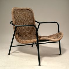 Dirk van Sliedregt; #514 Enameled Metal, Leather and Rattan Easy Chair for Jonkers Bros., 1952.
