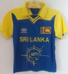 Trendy Sri Lanka Boys Cricket Shirt Size 8M Dry Fit Blue Yellow Vneck Collared Free Shipping