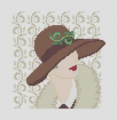 Vintage Woman IX. Instant Download PDF Cross Stitch by PatternBird, $4.00