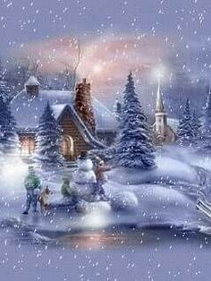 winter landscapes and scenic wintery moving snow animations animated christmas and winter snow - Free Animated Christmas Ecards