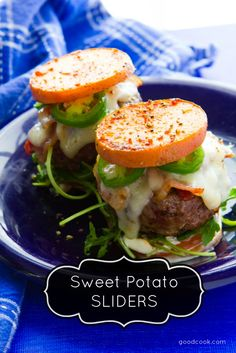 Sweet Potato Sliders topped with creamy melted Havarti, bacon, jalapenos, and a simple lemon mayo. A quick and delicious gluten-free dinner!