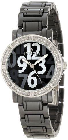Invicta Women's 10279 Black Ceramic Diamond Accented Watch