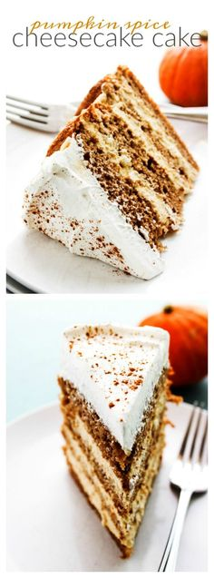 Pumpkin Spice Cheesecake Cake a layered spice cake with a no-bake pumpkin cheesecake filling topped of with a dust of pumpkin pie spice. No Bake Pumpkin Cheesecake, Cheesecake Cake, Cheesecake Recipes, Easy Desserts, Delicious Desserts, Dessert Recipes, Holiday Desserts, Healthy Desserts, Dessert Ideas